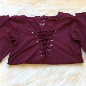 Burgundy Stretchy Long-Sleeve
